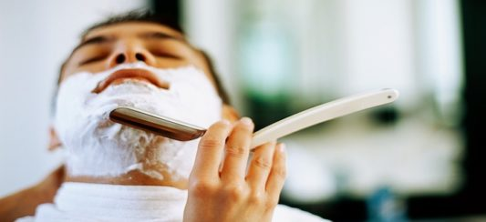 Traditional Hot Towel Shave and a Hydrating Mask $40